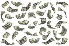 Cento cadute delle fatture del dollaro Fotografia Stock