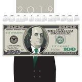 2019 cento calendari della banconota in dollari illustrazione di stock