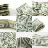 Cento collage della fattura del dollaro Fotografia Stock