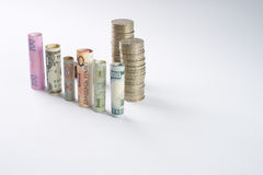 Cento dollari americani e l'altra valuta hanno rotolato le banconote delle fatture, con le monete impilate Immagini Stock Libere da Diritti