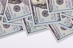 Cento dollari americani isolati su fondo bianco Immagine Stock Libera da Diritti