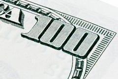 Cento dollari colpo della fattura di macro, foto impilata Immagini Stock Libere da Diritti