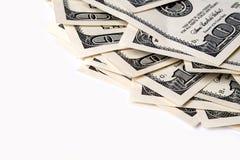 Cento dollari di banconote isolate su fondo bianco Immagini Stock