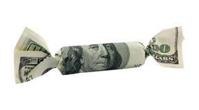 Cento dollari di caramella con il percorso di residuo della potatura meccanica immagini stock libere da diritti