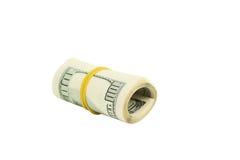Cento dollari di fattura isolata su bianco Fotografia Stock Libera da Diritti