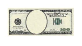 Cento dollari di fattura senza il fronte su bianco Immagini Stock