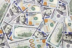 Cento dollari di fondo delle banconote Fotografie Stock