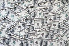Cento dollari di fondo delle note Fotografie Stock