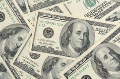 Cento dollari di priorità bassa delle banconote Fotografia Stock