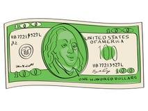 Cento dollari obiettano su un fondo bianco Scienziato, pubblicitario e diplomatico Benjamin Franklin Royalty Illustrazione gratis
