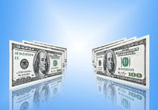 Cento dollari su priorità bassa blu fotografia stock libera da diritti