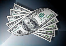 Cento dollari su priorità bassa blu scuro Fotografie Stock Libere da Diritti