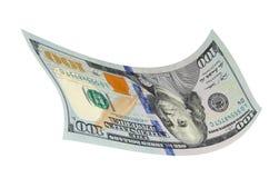 Cento dollari su un fondo bianco Immagine Stock