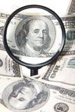 Cento dollari sullo zoom Fotografia Stock