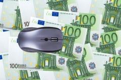 Cento euro banconote con il topo del computer Fotografie Stock
