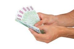 Cento euro Banknots a disposizione Fotografia Stock