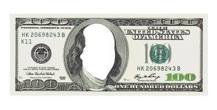 Cento fatture dei dollari senza il fronte, percorso di ritaglio Fotografia Stock