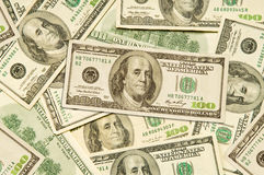 Cento fatture del dollaro Fotografie Stock
