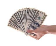 Cento fatture del dollaro Fotografia Stock Libera da Diritti