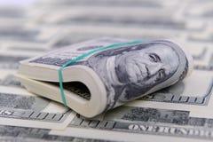 Cento fatture del dollaro Immagini Stock