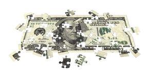 Cento fatture del dollaro hanno imbarazzato Fotografia Stock Libera da Diritti