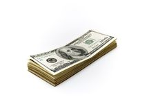 Cento fatture del dollaro sopra bianco Fotografia Stock