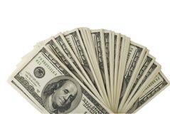 Cento fatture del dollaro su una priorità bassa bianca Fotografie Stock