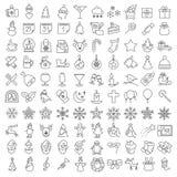 Cento icone di Natale messe Fotografie Stock Libere da Diritti