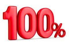 Cento per cento su fondo bianco 3D isolato Fotografie Stock