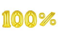 100 cento per cento, colore dell'oro Fotografia Stock Libera da Diritti
