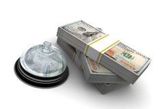 Cento pila del dollaro e servizi Bell Immagini Stock