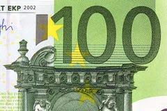 Cento primi piani degli euro Fotografia Stock