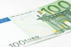Cento primi piani dell'euro Fotografia Stock