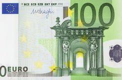 Cento primi piani dell'euro Fotografie Stock