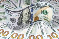 Cento primi piani delle banconote del dollaro Immagini Stock