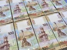 Cento rubli raccoglibili di banconota che descrive la Crimea Fotografie Stock Libere da Diritti