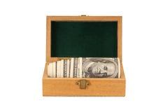 Cento soldi delle fatture del dollaro in una casella Fotografia Stock Libera da Diritti