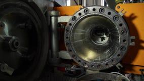 Centrífugo de alta presión del compresor de la turbina de gas de la alimentación escena Tipo industrial de producción en la plant almacen de metraje de vídeo