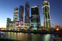 Centr internacional del negocio de la ciudad de los rascacielos Fotografía de archivo libre de regalías