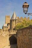Centra av Carcassonne, Frankrike. Arkivbilder