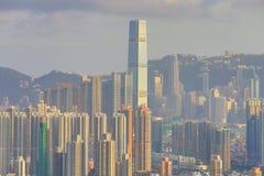 Centra av Hong Kong, kick - täthet, fattigt område fotografering för bildbyråer