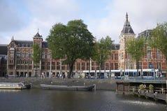 Centraal驻地看法在阿姆斯特丹 免版税图库摄影