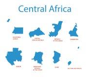 Centraal-Afrika - kaarten van gebieden vector illustratie