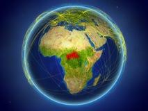 Centraal-Afrika ter wereld met netwerken royalty-vrije stock foto's