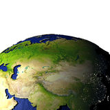 Centraal-Azië op model van Aarde met in reliëf gemaakt land Royalty-vrije Stock Foto