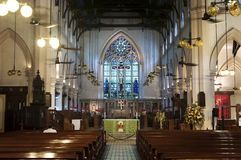 Centraal binnenland van St John ` s Kathedraal, Hong Kong stock foto