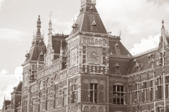 Centraal - Central Railway Station; Amsterdam; Holland. Netherlands in Black and White Sepia Tone Royalty Free Stock Photos
