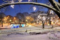 Centraal die park in Riga voor Kerstmis en Nieuwjaarviering wordt verfraaid Stock Fotografie