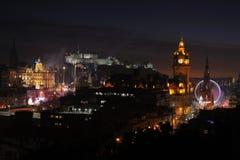 Centraal Edinburgh, Schotland, het UK, bij nacht royalty-vrije stock foto