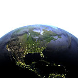 Centraal en Noord-Amerika bij nacht op realistisch model van Aarde Royalty-vrije Stock Fotografie